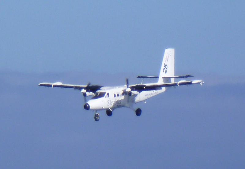 Twin Otter coming in to land at St Mary's.